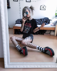 Kimi Peri - Killstar Socks, Fishnet Tights, Disturbia Kiss My Ass Acid Wash Shorts, Sarah Thursday Wild Spirits Tee, Vintage Locket Necklace, You Are My Poison Blue Glasses, T.U.K. Footwear Red & Black Stripe Viva Mondo Creepers, Shop Chokers No Face Choker - The White Stripes