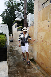 INWON LEE - Byther Bold Stripe Shirts, Byther Ugly Slippers, Byther Solid Linen Shorts, Byther Panama Straw Hat - Marin Striped