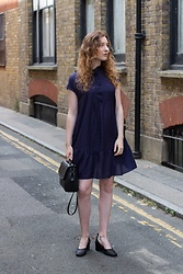 Summer R - And Other Stories Navy Blue Smock Dress, And Other Stories Woven Block Heel Sandals - Lady In Blue
