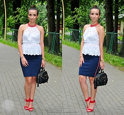 Natalia Uliasz - Zara Openwork Top, Reserved Pencil Skirt, Zaful Bag, Red Sandals - Lampasy górą!