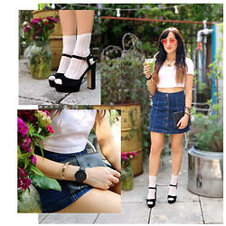 Charlotte Clothier - Depop, Ethical Swedish Stockings & Sustainable Cream Klara Knit Socks, Votch Black Vegan Sustainable Watch, Depop White Crop Tee, Depop Sunglasses, Reclaim Bags Recycled Black Clutch Bag - SUMMER