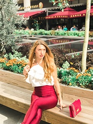 Imgoshka - Adil Işık White Frill Top, Zara Red Pants, Furla Red Bag - Red look on summer days