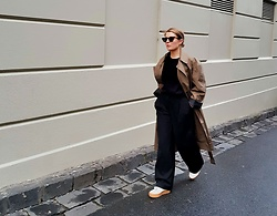 Angharad Jones - Asos Sunglasses, Uniqlo Trench Coat, H&M Jumper, H&M Trousers, Ganni Trainers - The Oversized Trench