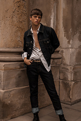 Georg Mallner - Levi's® Denim Jacket, H&M Shirt, Bershka Jeans - August 02, 2018