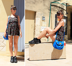 ♡Nelly Kitty♡ - H&M Floral Mini Dress, Fila Disruptor, Marc By Jacobs Blue Leather Bag - OOTD#45