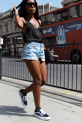 Rachel O. - Levis Cut Off Shorts, Vans Old Skool Platform, Christian Dior Club 2 - The Cool Girl Sneaker