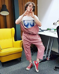 Harry J Bartlett - Vivienne Westwood Tit Top, Vivienne Westwood Pink Dungarees, Converse Red Chuck's - Office Wear – No, I'm Serious
