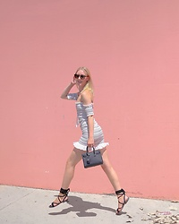 Katie Van Daalen Wetters - Tobi Off The Shoulder Dress, Public Desire Suede Sandals, Saint Laurent Sac De Jour Nano - Fun in the Sun