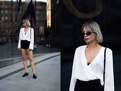 MONIKA S - White Satin Blouse, Slim Rectangular Sunglasses, High Waisted Shorts, Mini Clutch Bag, Leather Shoes - SATIN BLOUSE