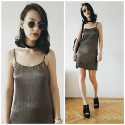 Klaudia - Bershka Gold Dress, Bershka Sandals - First thing