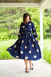 Lindsey Puls - Evatrends Dress, Modcloth Wedges - A Sleeved + High-Neckline Dress for Fall