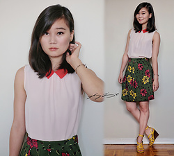 L Z - Kate Spade Silk Top, Alfred Sung Vintage Silk Skirt, Coach Leather Wedges - Peachy Keen