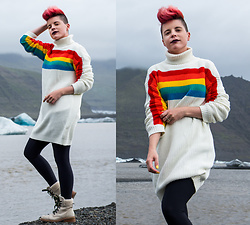Carolyn W - Vipshop Rainbow, Black Milk Clothing Matte, The Frye Company Warm - Rainbows in Iceland
