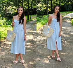 Natalia Uliasz - H&M Earrings, H&M Midi Dress, House Beach Bag, Born2be.Pl Sandals - Sukienka naszych mam...
