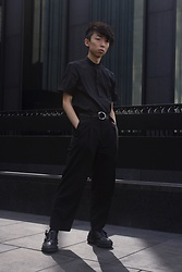 Samuel Oh - Zara Mandarin Collar Shirt, Simons Metallic Ring Belt, Le 31 Ankle Length Pleat Pants, D.Gnak Black Side Laced Platform Sneakers - D.GNAK