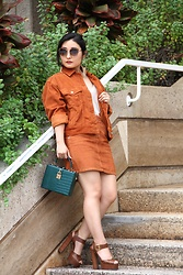 Kristen Tanabe - Topshop Corduroy Jacket, Topshop Corduroy Skirt, Leith Sweater Tank Top, Forever 21 Boxy Faux Croc Clutch, Steve Madden Platform Heels, Balmain Sunnies, Aqua Gold Hoop Statement Earrings - Corduroy Co-Ord