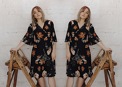 Alex MacEachern - Bodega Womenswear Navy Floral Wrap Round Dress - I Keep On Flourishing.