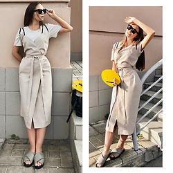 Alina Feminudity - Ushatava Cotton Dress, H&M Sandals, Céline Sunglasses, Zara T Shirt - Nude Palette