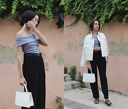 Esther L. - Na Kd Oversized Denim Jacket, Na Kd Tailored Trousers, Na Kd Off Shoulder Top - BLUE STONE