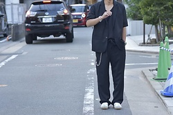 Hideki. Mn - Yokosakamoto Shirt Sleeve Jkt, Roundabout Nylon Tank Top, Yokosakamoto Wide Easy Pants, Minus Kamon Signet Ring, Minus Square Wallet Chain, Hermës Chaine D'ancre - Japanese fashion 91