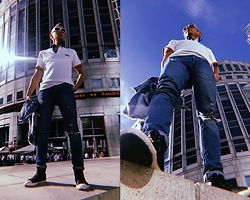 Trzy Hoo - Levi's® Modern Polo, Levi's® 501 Customized Skinny Jeans, Levi's® Icy Altered Trucker Jacket, Levi's® High Top Sneakers, Pepe Jeans Sunglasses - Polo walk around