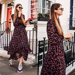 Jacky - Vila Dress, Balenciaga Sneakers - Floral Midi Dress and Ugly Sneakers