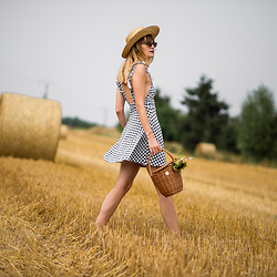 Catherine V. - Asos Backless Vichy Dress, Hers Wave Straw Basket, H&M Straw Hat - VICHY PRINT IN THE GOLDEN FIELDS