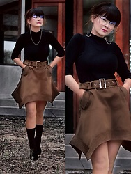 "Small Feet Yeti - Glass Chains, Zara Turtle Neck, Skirt, Jessica Buurman Sock Boots - Tryna ""see"" stylish!"