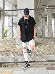 ★masaki★ - Kollaps Shoegaze, R13 Denim Oversized Shirts, H&M Longfit Tee, R13 Denim Damage Jeans, Converse Hi - Black&White