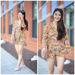 Kimberly Kong - New Look Floral Romper, Koio Sneakers - Find of the Day: The Floral Playsuit ($26)