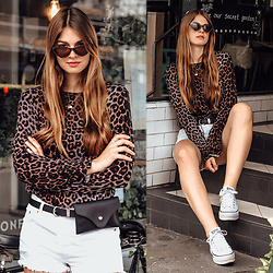 Jacky - Na Kd Sunglasses, Levi's® Shorts, Converse Sneakers -  London Travel Outfit: White Shorts and Leo Shirt