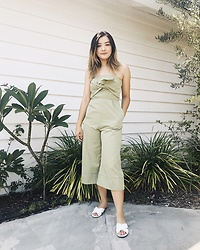Haley D. - Lush Romper, Guess Sandals - Greens