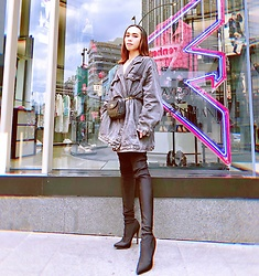 JUN UDAN - Thrift Store Oversized Denim Jacket, Thrift Store Waist Bag, Forever 21 High Knee Black Socks Boots - LACK OF COLOR