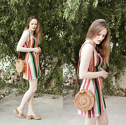 Emily S. - Unbranded Woven Circle Bag, Nature Breeze Vegan Suede Slides, Urban Outfitters Vertical Stripe Dress - Summer Stripes