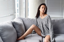 Gi Shieh - Thrifted Silver Choker, H&M Comfy Grey Sweater - TEAM NO PANTS 4EVA!!