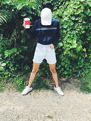Drew Harrison - Striped Long Sleeve Tee, Guess Light Wash Jean Shorts, Adidas White Baseball Hat, White Sneakers - Going to the Jungle