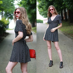 Alba Granda - Dressllily Red Retro Sunglasses, Zara Pola Dots Dress, Mango Red Bag, Zara Black Sandals - Cat Eye
