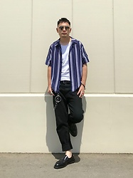 ★masaki★ - Ch. Stripped Shirts, Neuw Denim Studio Relaxed, Dr. Martens Lofers, Zara Sunglasses - Studio Relaxed