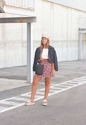 Claudia Villanueva - H&M Cap, Shein Jacket, Zara Top, Shein Bag, Pull & Bear Skirt, Au Revoir Cinderella Sandals - Pre-Fall in August
