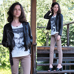 Claire H - Zara Leather Jacket, Eleven Paris Life Is A Joke Shirt, Högl Black Leather Mules - Life is just a joke