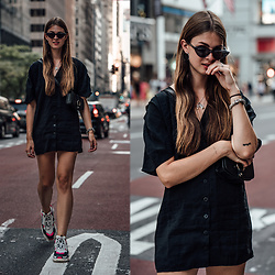 Jacky - Zara Dress, Balenciaga Sneakers - Black Dress and Ugly Sneakers