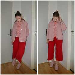 Mucha Lucha - Missguided Denim Jacket, Asos T Shirt, New Look Culottes, Bershka Sneakers - Red and pink