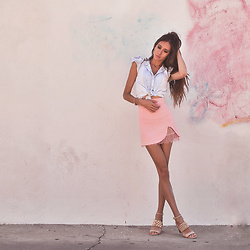 Jenny M - H&M Chambray Blouse, By The Way Pink Slit Mini Skirt With Lace Underlay, Michael Kors Studded Nude Sandals - SWEET LIKE COTTON CANDY // thehungarianbrunette.com