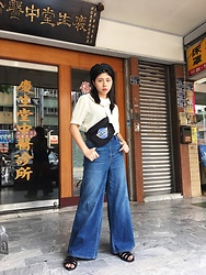 Hsuan H - Ozoc Hat, Vintage Shirt, Vans Bag, Gu Denim Pants, Gu Sandals - Vintage day