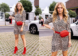 Sunnyinga - &Other Stories Leo Dress, Aldo Heels, Loavies Belt Bag - Leo-Dress x Red Accessories