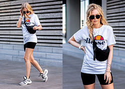 Sunnyinga - Ellesse Shirt, Boohoo Cycling Shorts, Boohoo Sneakers, Urban Outfitters Belt Bag - Cycling Shorts x LV Archlight Sneaker Lookalike