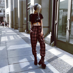 Kimi Peri - T.U.K. Footwear Dark Floral Velvet Nosebleed Boot, Vii & Co. Plaid Pants, Diy Crop Tee, Choker - Plaid & Velvet