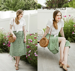 Emily S. - Urban Outfitters Boyfriend Tee, Nature Breeze Vegan Suede Slides, Unbranded Woven Bag, Zaful Wrap Skirt - Green Wrap Skirt