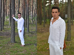 Pawel - Rg512 White Linen Shirt, Vintage Leather Bag, H&M Linen Trousers, Asos Leather Sandals - Lost in the wood.