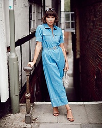 Gabrielle Bassett - Sister Jane Boiler Suit, Mango Beaded Bag - True Blue